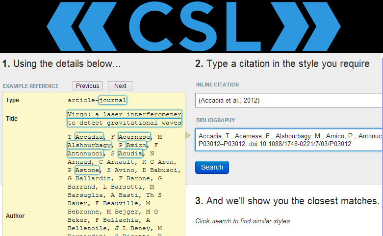 Mendeley Citation Style Finder
